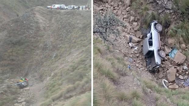 Camioneta se embarranca en la carretera a Tarija y deja sin vida a dos personas
