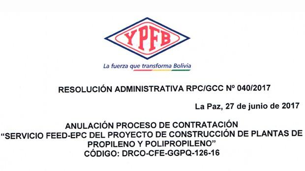 UD pide a YPFB hacer público anulación del contrato con Tecnimont