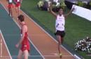 Vidal Basco llegando a la meta y ganando la medalla plata 10.000 mts, Panamericano Juvenil