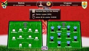 Alineación Bolivia vs Uruguay; eliminatorias al mundial Rusia 2018; zona conmebol; Fecha 1; jueves 08 de octubre a las 16:00HB